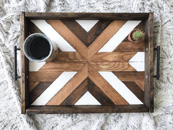 Wood Tray - Geometric Wood Tray - Reclaimed Wood Tray -Wood Serving Tray - Wood Wall Art - Wood Art - Boho Wood Tray - Boho Wood Wall Art #reclaimedwoodwallart