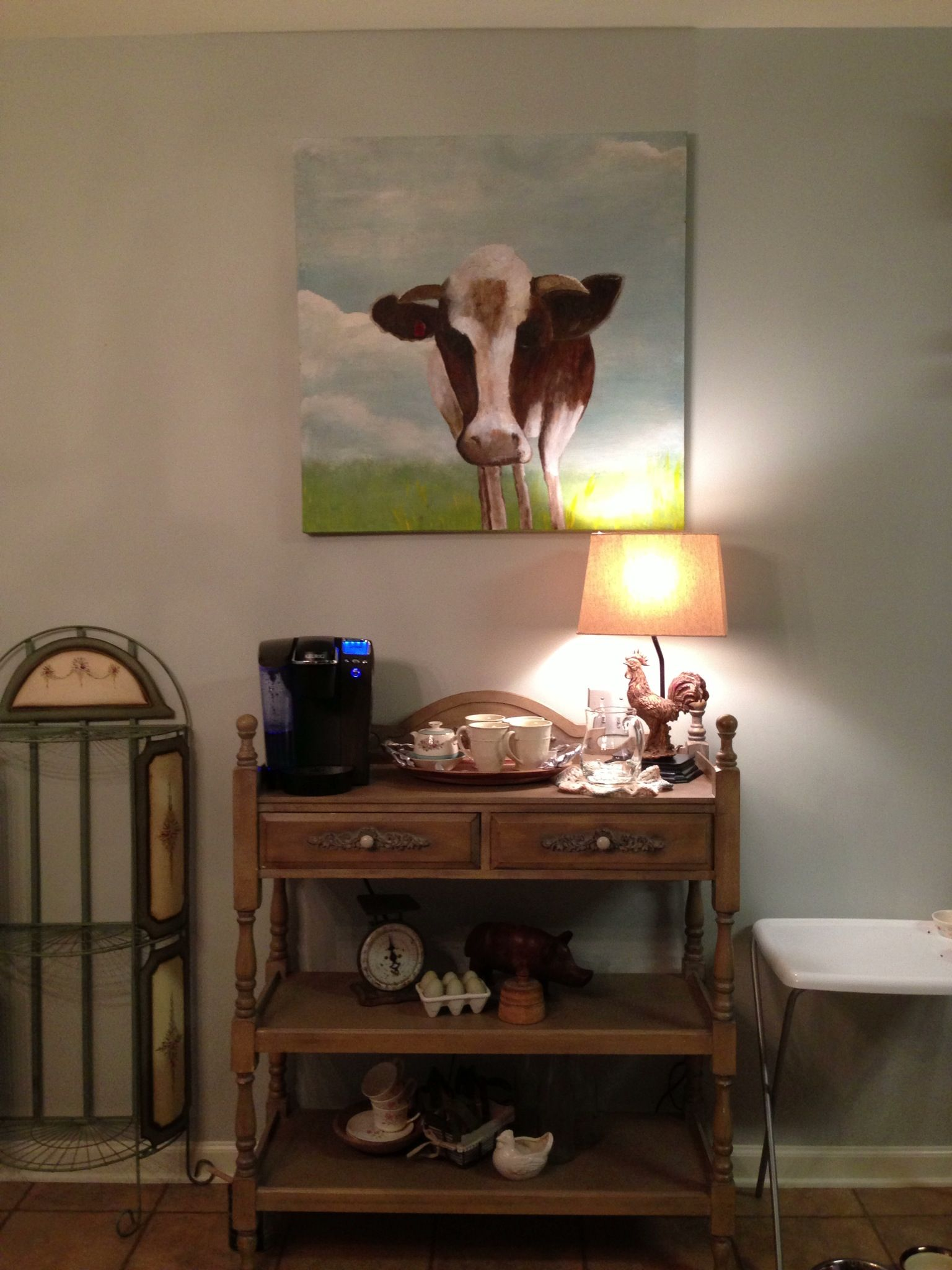 Wilbur The Cow painted by my friend Dawn for above Coffee Station. I love him!