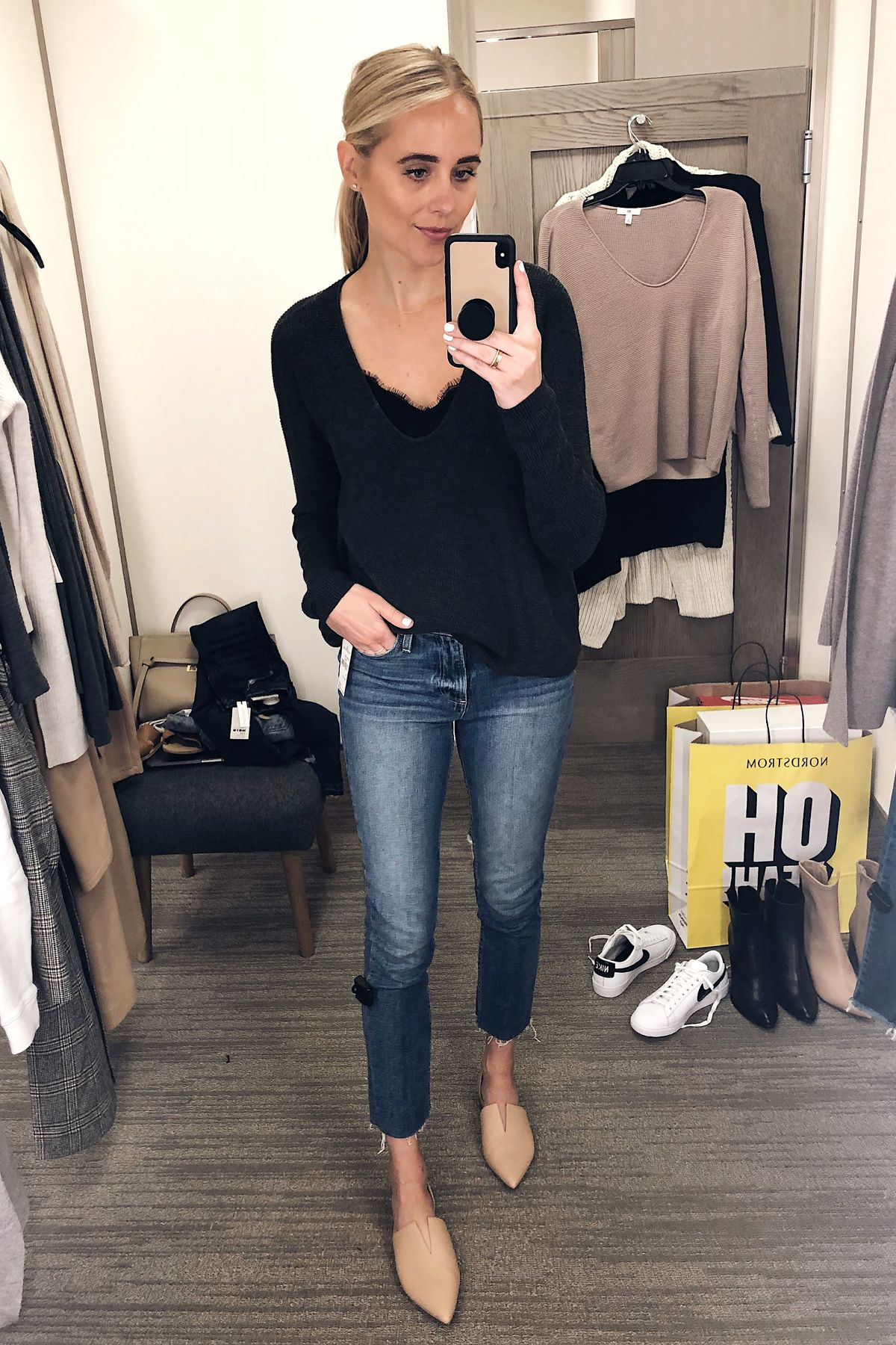 531a1f609f ... Nordstrom Anniversary Sale Textured Stitch V-neck Pullover BP Nordstrom  Black Lace Cami Paige Raw Hem Jeans Vince Darlington Flats Fashion Jackson  San ...