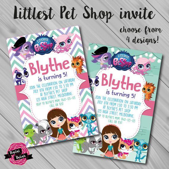 Littlest Pet Shop Invitation Choose From 4 Background Designs Digital File Printable