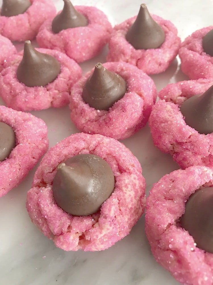 Strawberry Kiss Cookies ~ Made With A Cake Mix! #peanutbutterblossomcookies