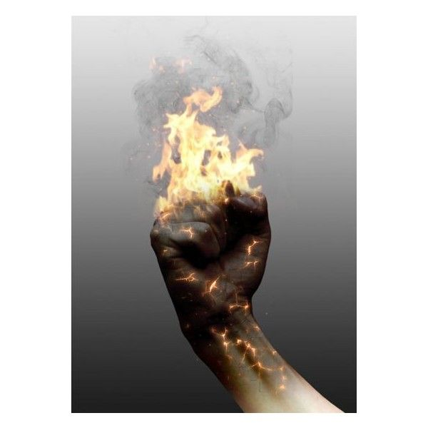 Combine fire, glow and crack effect in photoshop to create a realistic burning image found on Polyvore featuring backgrounds, photo, magic, people and pictures