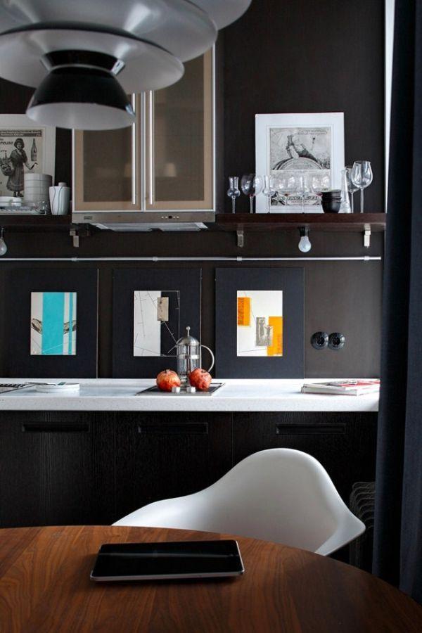 cuisine noir et blanche kitchen Pinterest Moscow, Apartments