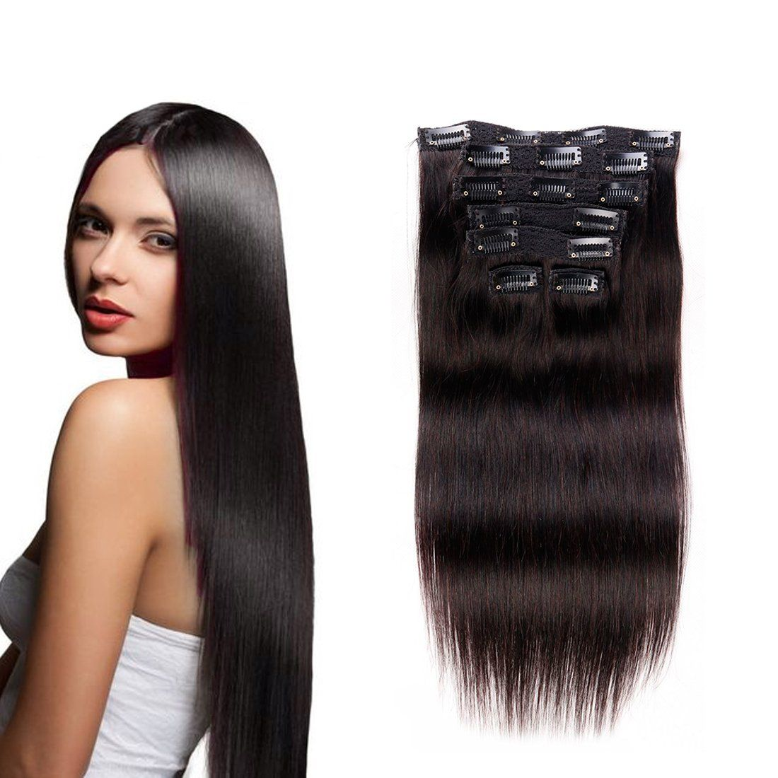 7a Clip In Hair Extensions Human Hair Brazilian Virgin Hair Double