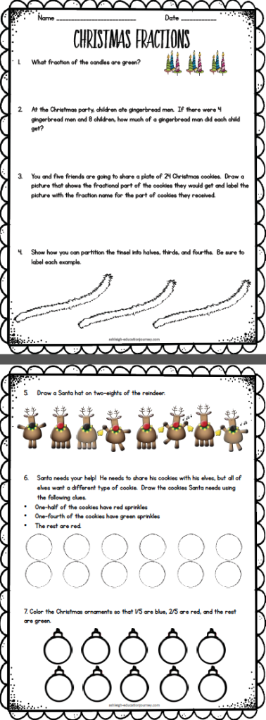 Worksheets Christmas Fractions grab a free fraction printable includes identifying and drawing christmas fractions freebie equivalent comparing fractions