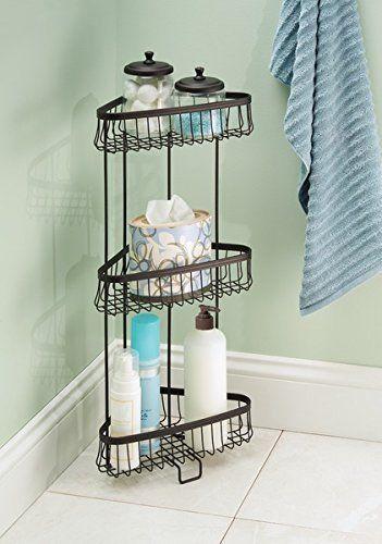 Mdesign Free Standing Bathroom Or Shower Corner Storage Shelves For Towels Soap Shampoo Lotion Accessories 3 Tier Bronze Shower Shelves Bathroom Organisation Standing Shower