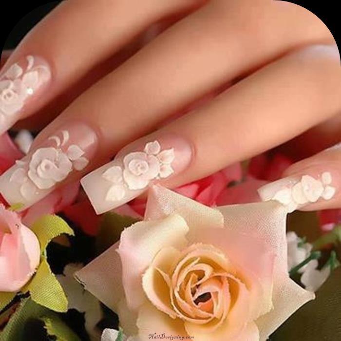White Rose Nail Designs for Wedding | Taryn | Pinterest | Rose nails ...