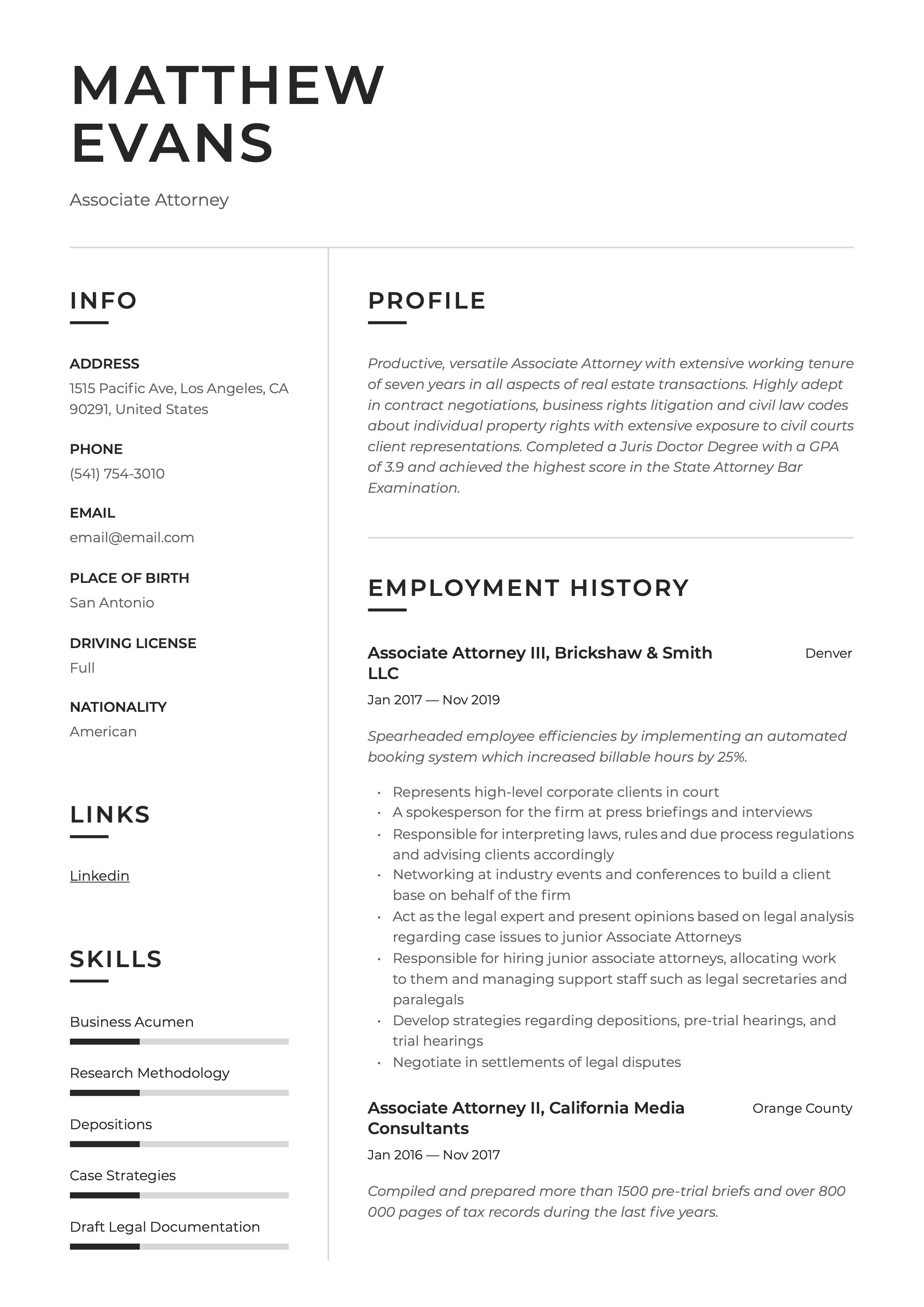 Associate Attorney Resume Sample In 2020 Executive Resume Resume Examples Resume Guide