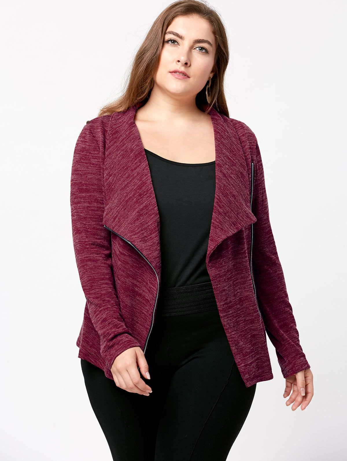 Plus Size Marled Zip Up Cardigan Basic Coats Long Sleeve