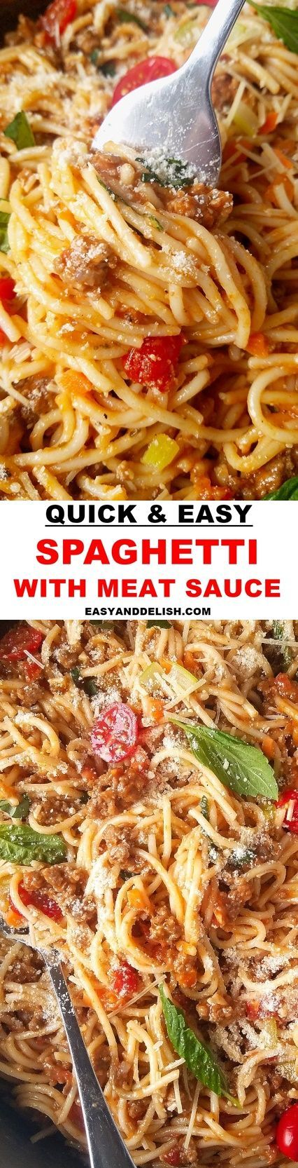 Make this spaghetti with ground beef and tomato sauce in less than 30 minutes. It is easy, comforting, budget-friendly and so delicious! Your family will love it! #pasta #groundbeef #dinnerrecipes #easyrecipes #quickrecipes