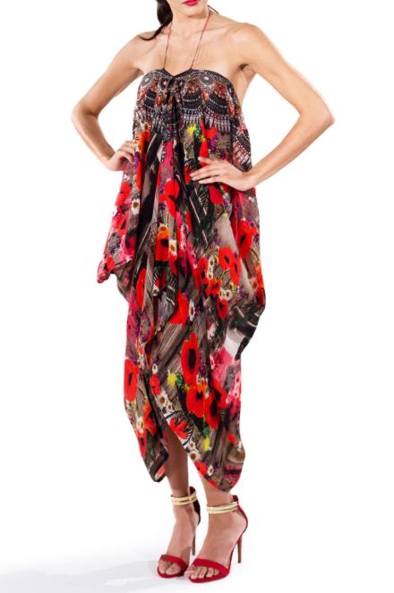 11107c0ad8 Poppy Red Lace Up Caftan Short Parides Dress A Shahida Parides signature  piece. Switch from a beautiful medium length V-neck kaftan to 3 other  ravishing ...