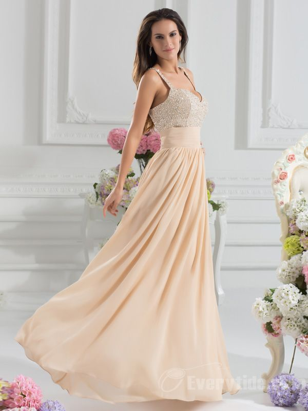 Wholesale Unique A-line Floor-length Straps Backless Chiffon Sequined Champagne Prom Dresses$129.99