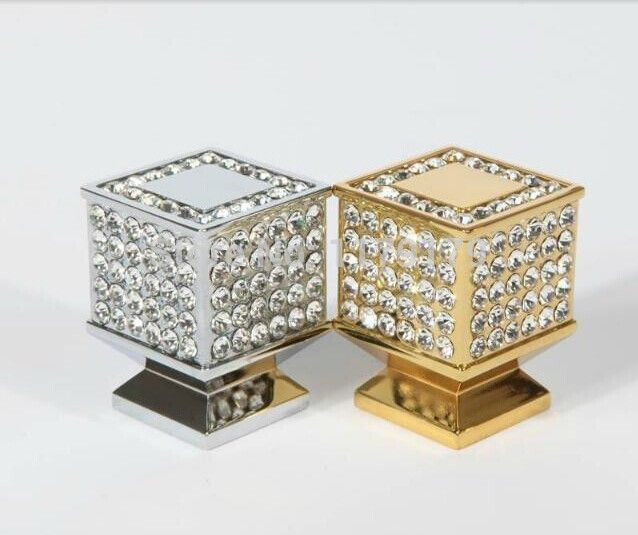Fashion luxury diamond knob K9 crystal wine cabinet pull gold