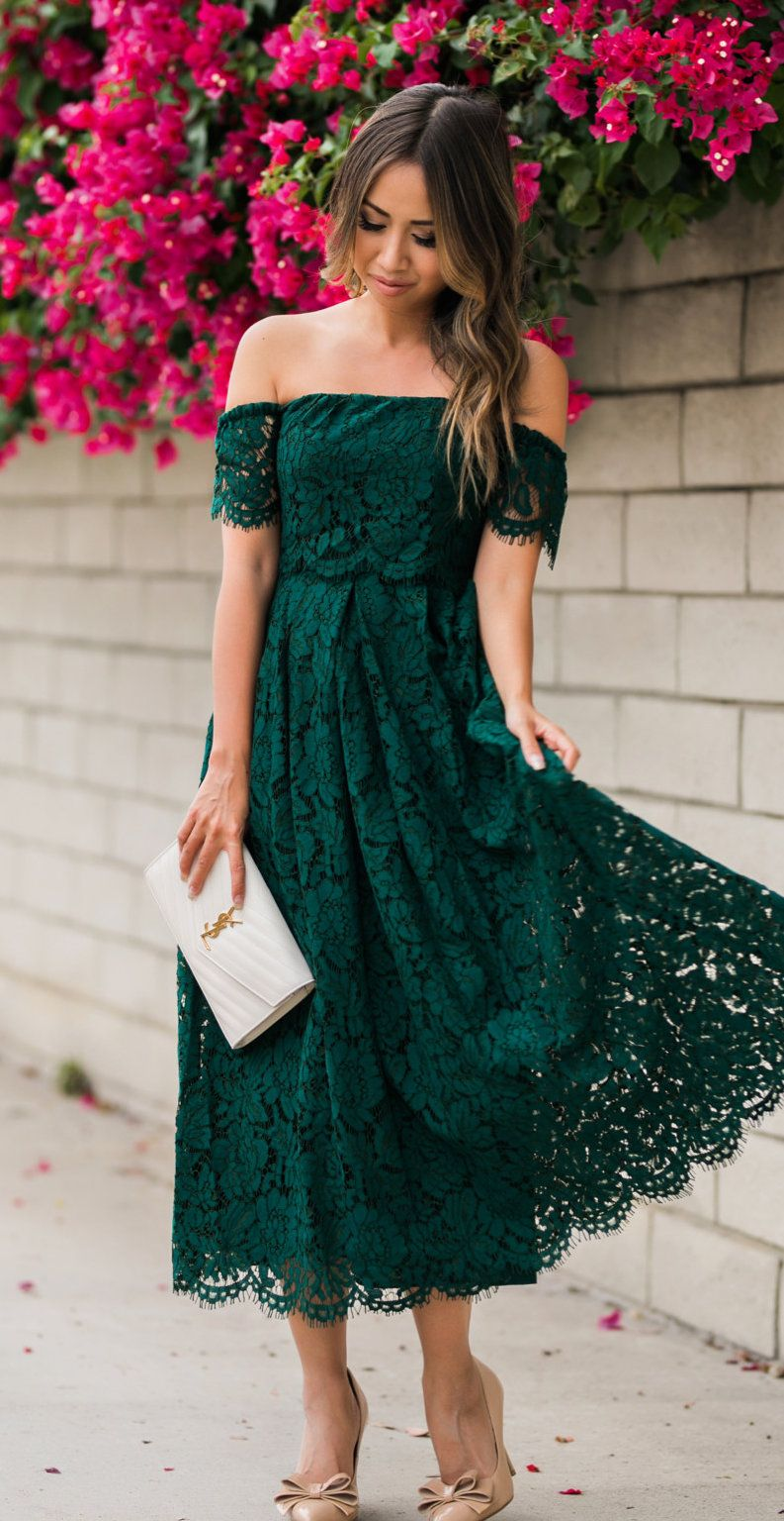 92602fbde3895 winter #outfits green floral off-shoulder dress | Dresses | Dresses ...