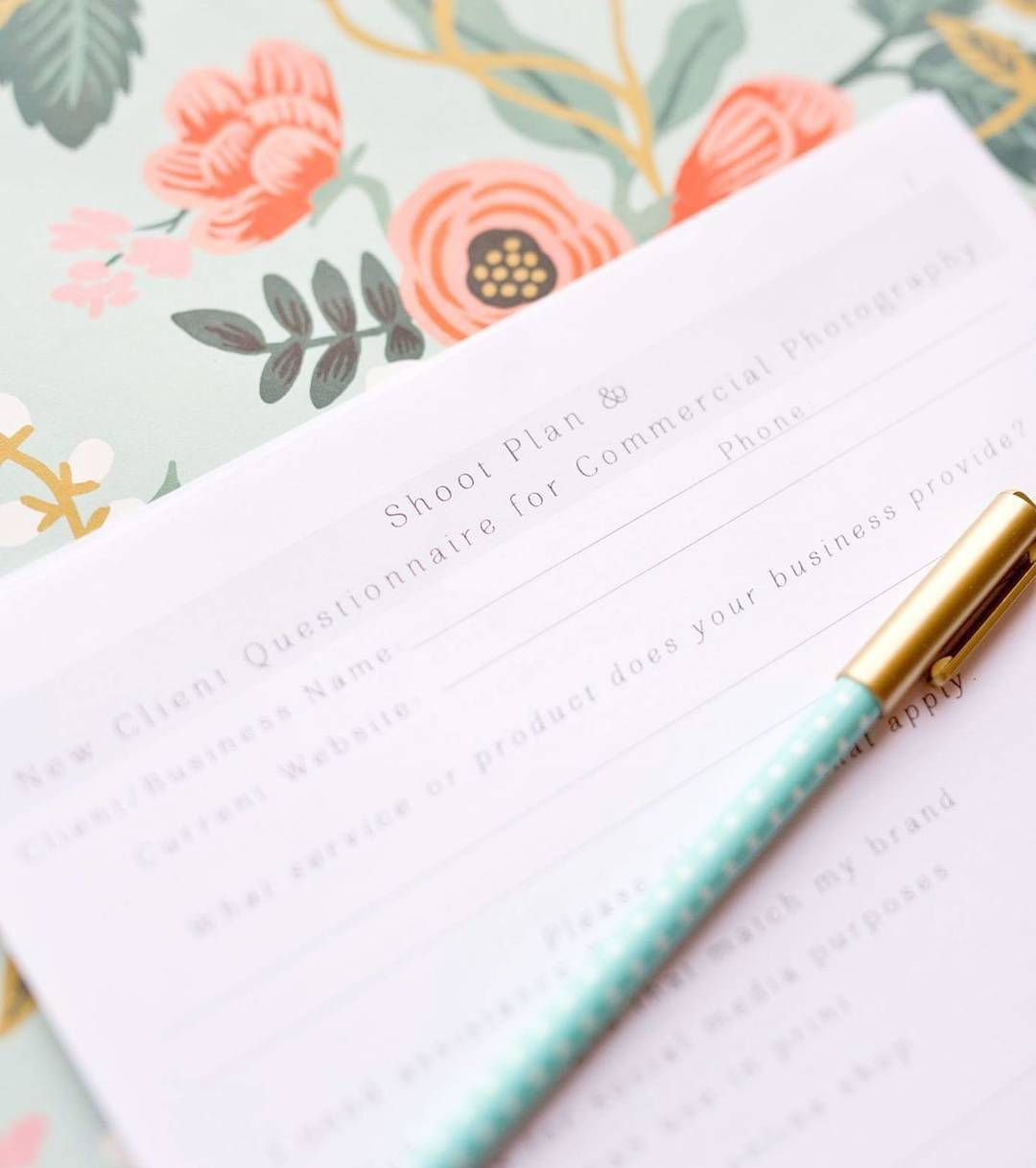 Now Printable My Shoot Plan And New Client Questionnaire For