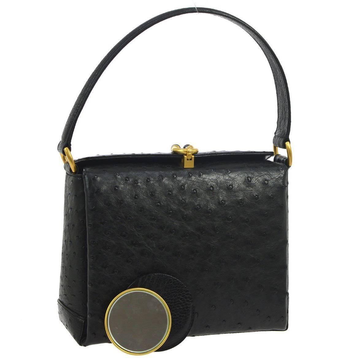 987d77734cbf Gucci Vintage Black Ostrich Leather GHW Evening Top Handle Satchel Kelly Bag