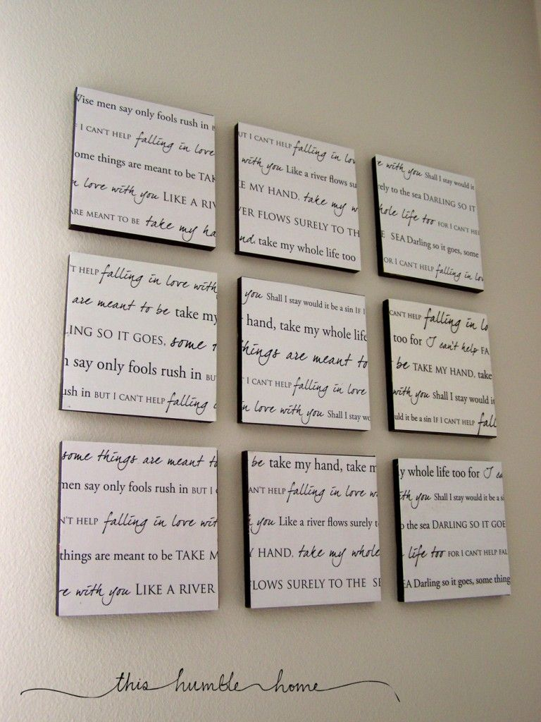 Lyrics to your wedding song...what an AWESOME idea!