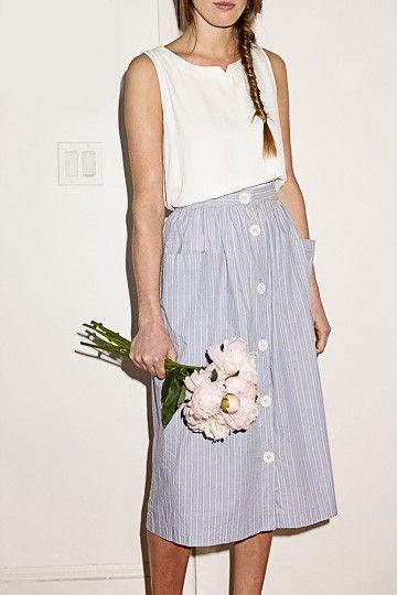 Blue Floral Print Midi Skirt (S)- kjolen, modellen