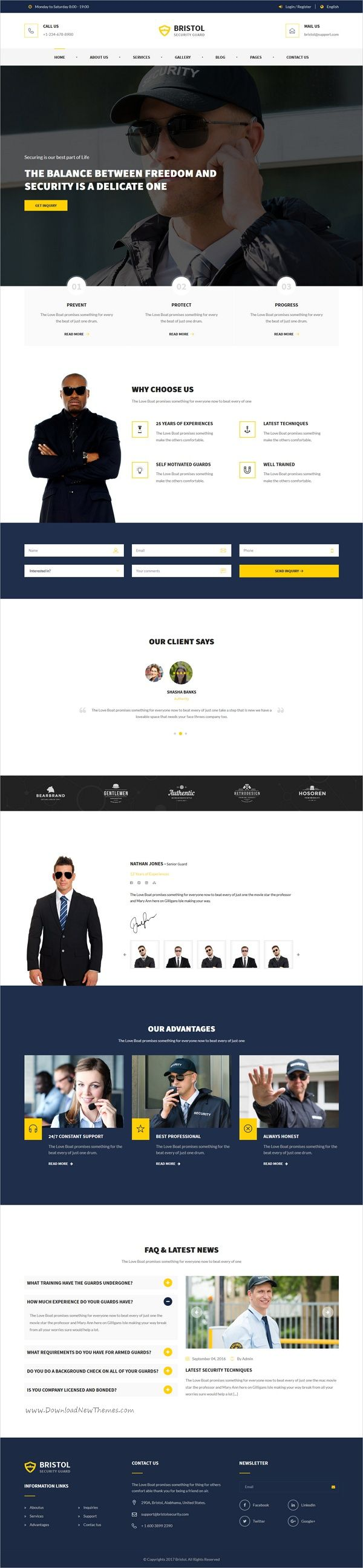 Bristol Security Services Html Template Security Guard Services Agency Website Design Security Service