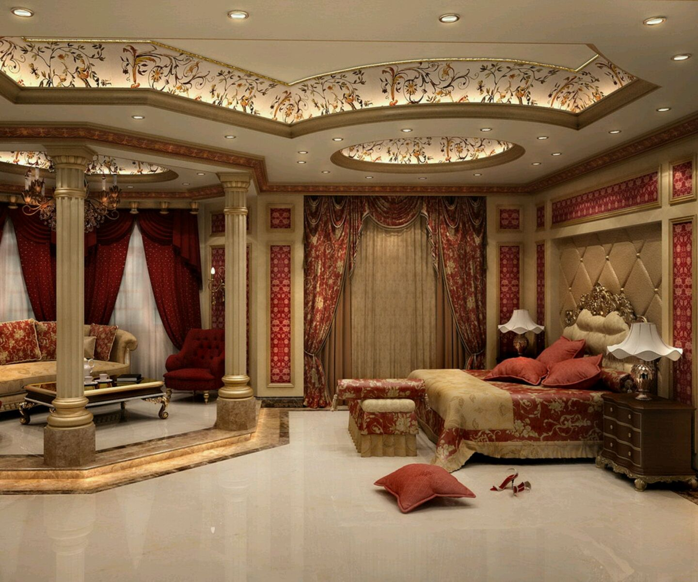 Ceiling Decoration Ideas luxury ceiling designs for master bedroom with red curtains