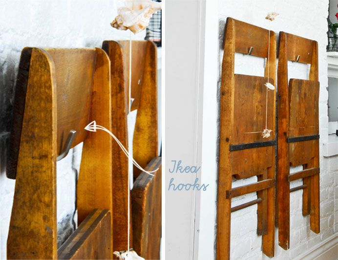 Hang extra chairs on wall. Space saver. | Hints.....Organization ...