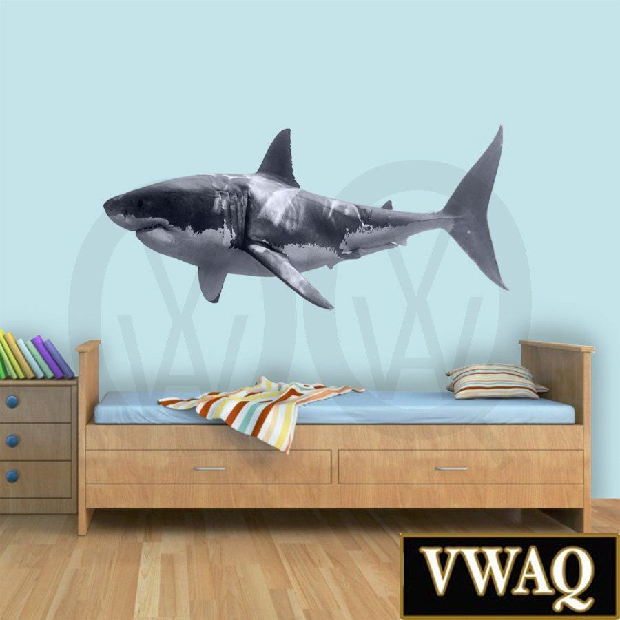 Great white shark wall decal peel and stick ocean wall decor great white shark wall decal peel and stick ocean wall decor realistic sticker nautical decor pas3 amipublicfo Choice Image