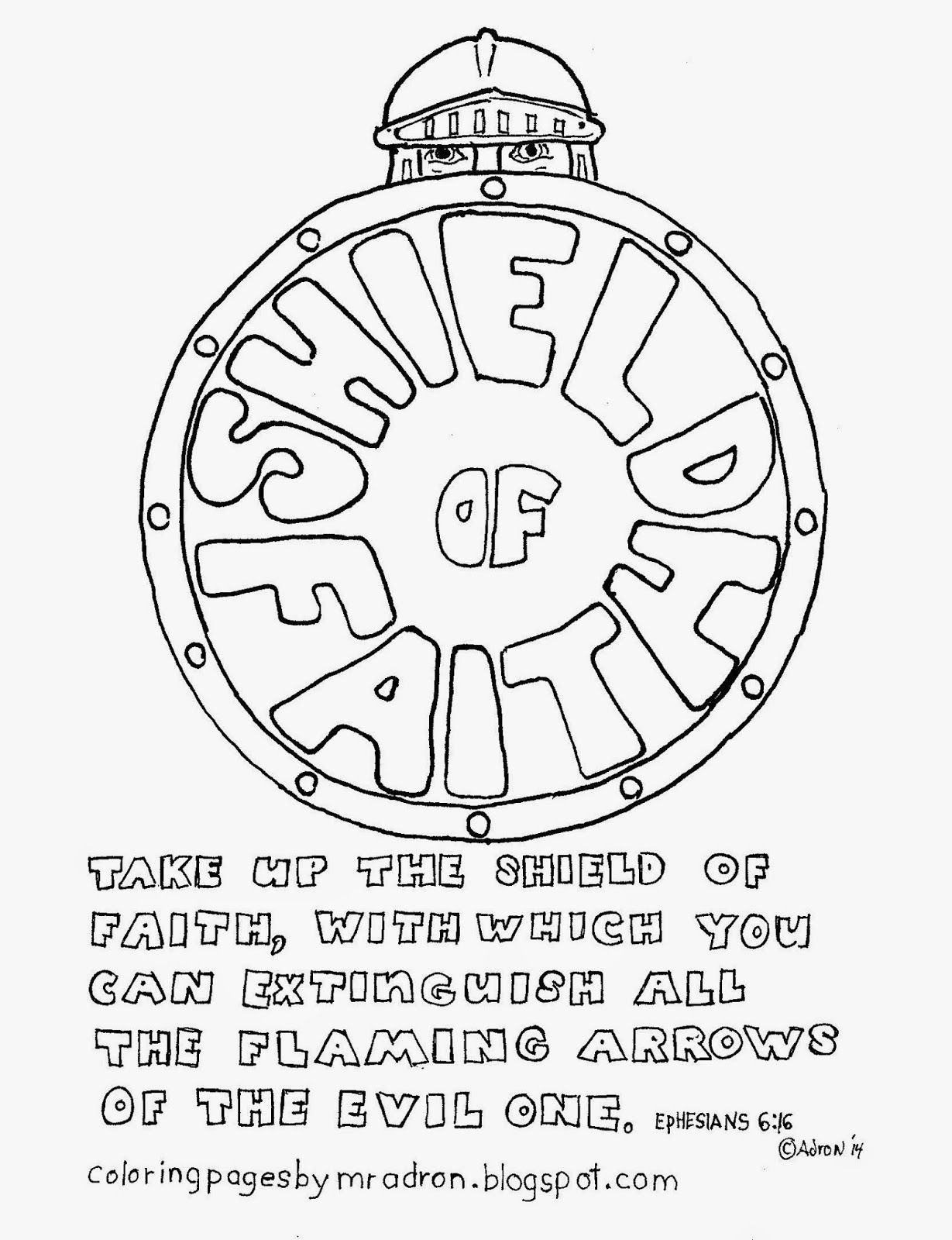 Coloring pages for kids by mr adron the shield of faith free coloring page ephesians