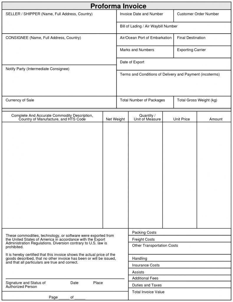 The Mesmerizing Export Proforma Invoice Format Invoice Format In