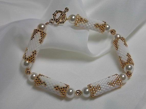 Beaded Peyote  Bracelet Golden Tubes by BittnersCreations on Etsy, $15.00
