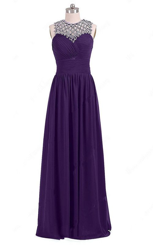 Light Purple Open Back A Line Scoop Neck Chiffon Floor Length Beading Long  Prom Dress