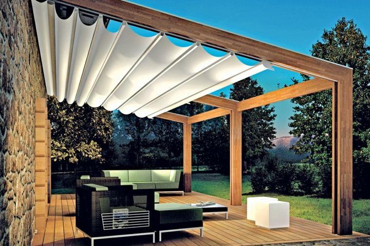 Pergola Voilage Terrasse Moderne Bois Veranda Pergola