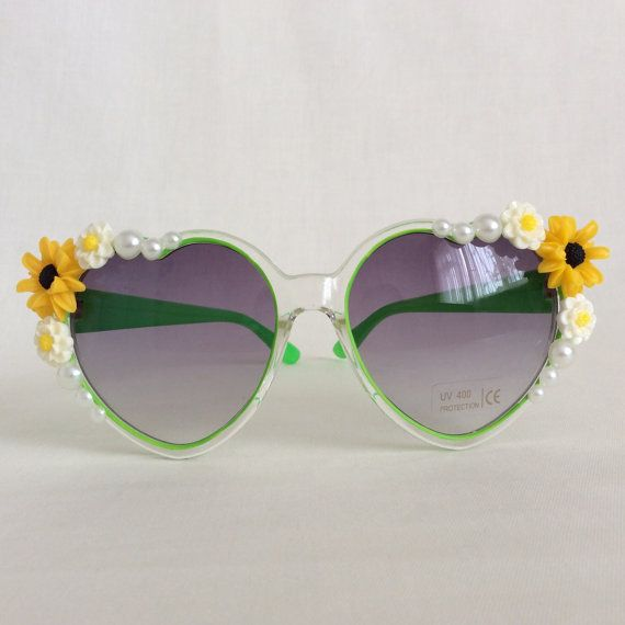 29a30c0d52 Morning Dew - Embellished Sunglasses Eyewear Yellow Ivory Cream Floral  Flowers Pearls Heart Sunglasses