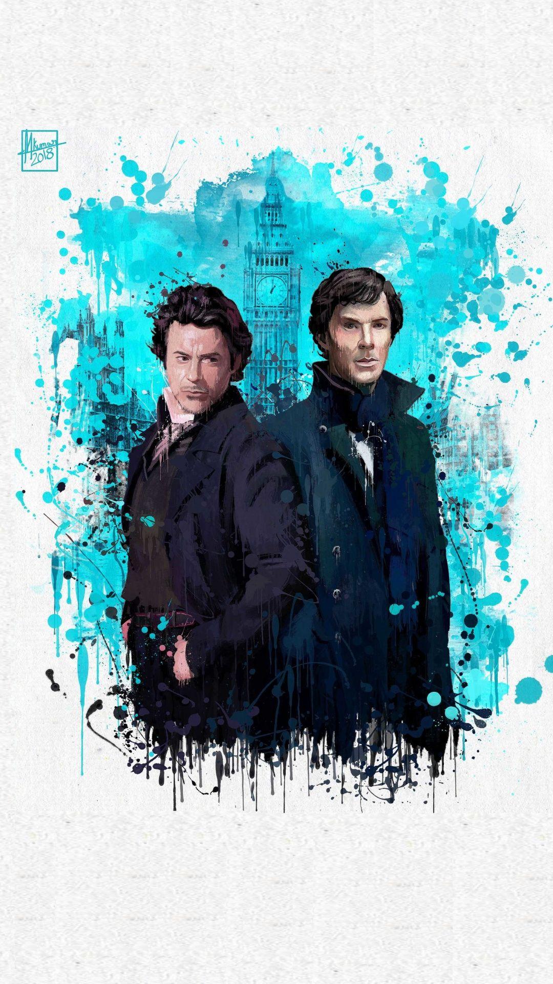 Sherlocks Holmes Benedict Cumberbatch Robert Downey Jr Splash Art Wallpaper Robert Downey Jr Vingadores Filmes