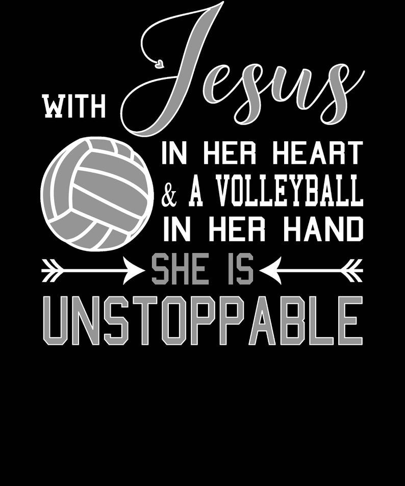 Christian Volleyball Shirt With Jesus In Her Heart And A Etsy In 2020 Volleyball Quotes Volleyball Inspiration Volleyball Memes