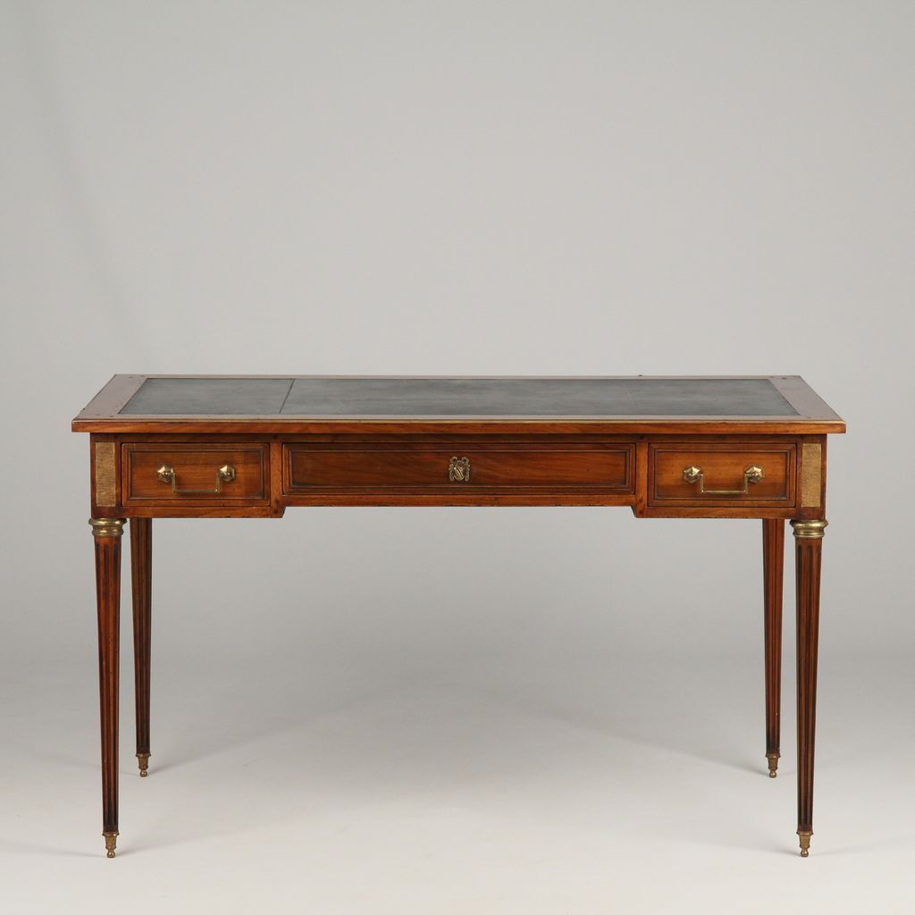 French Louis Xvi Style Fruitwood Leather Top Antique Writing Desk Antique Writing Desk Louis Xvi Style Vintage Desk