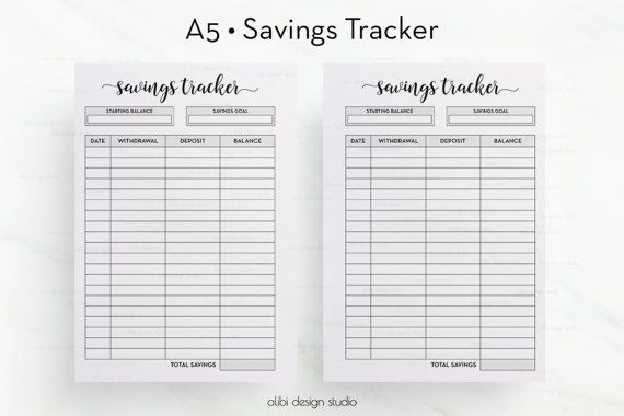 savings tracker a5 planner inserts saving planner budget planner