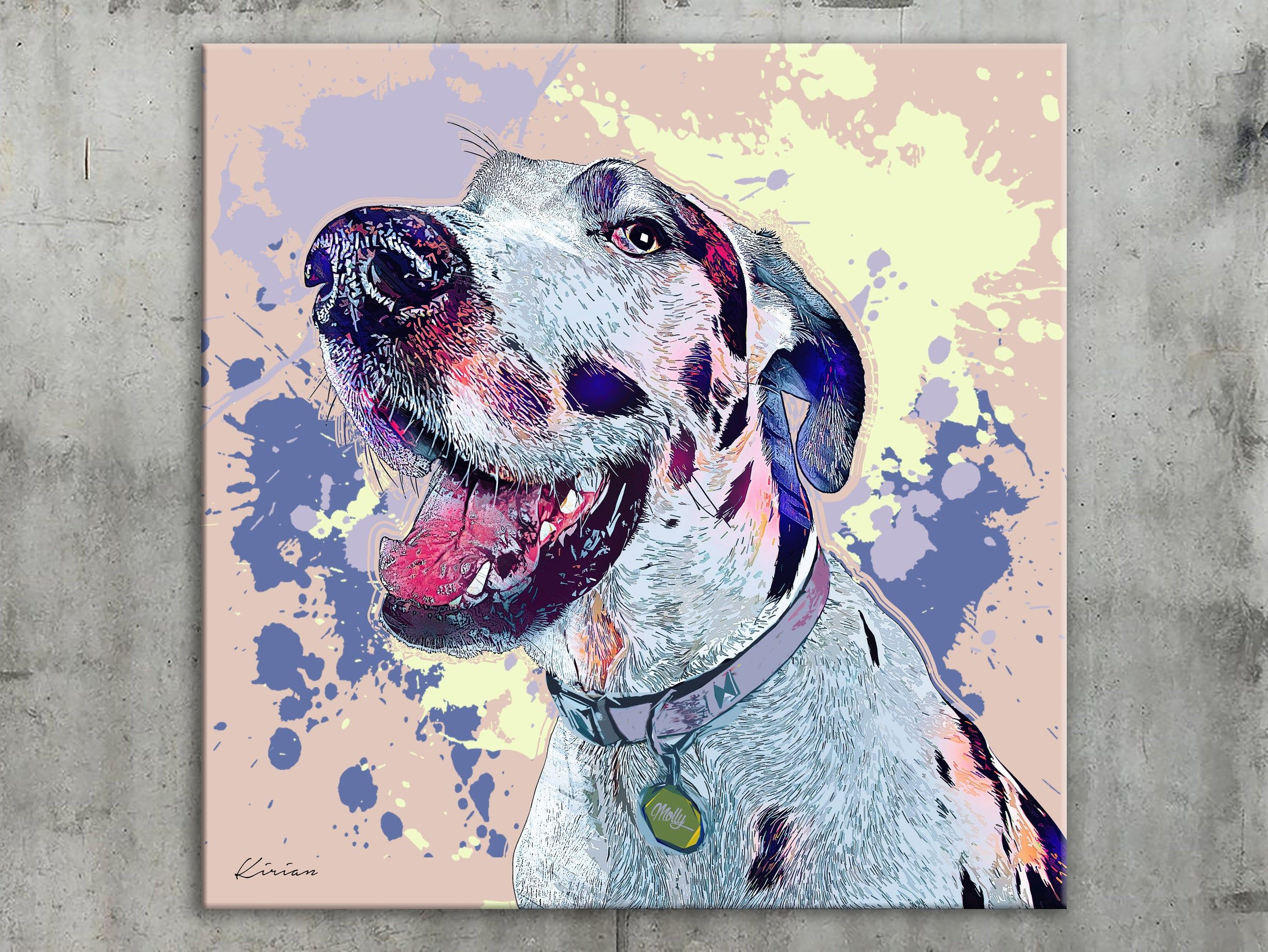 Great Dane Custom Pet Portrait On Canvas Personalized Dog Wall