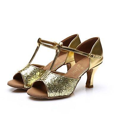Women's Latin Salsa Samba Paillette Sandal Indoor Sequin Buckle Customized  Heel Black Silver Gold Fuchsia Customizable