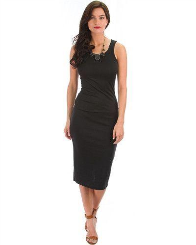 Black Racerback Bodycon Midi Dress