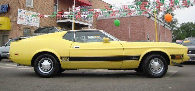 Medium Bright Yellow 73 Mustang Mach1 Fastback Mustang Fastback Mustang 1973 Mustang