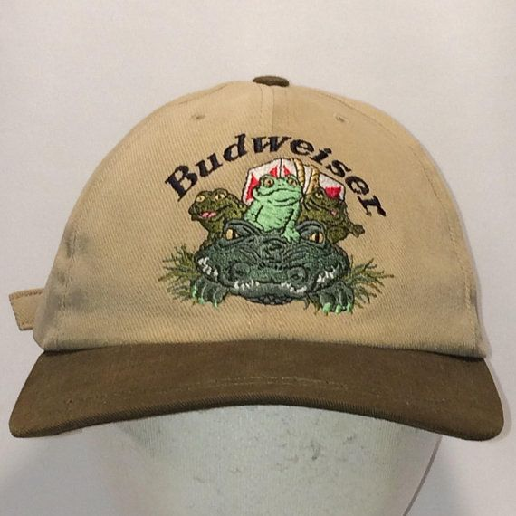 89d9bcf7532 Vintage Budweiser Beer Baseball Cap Hats Strapback Hat Funny Frogs  Amphibians Drinking Hats For Men Tan Brown Dad Gift Ball Caps T35 MA8092