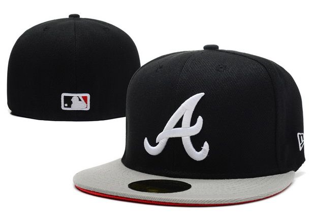Cheap MLB Atlanta Braves 59Fifty Hats Retro Classic Pop Caps Black  Gray 0c229c53600