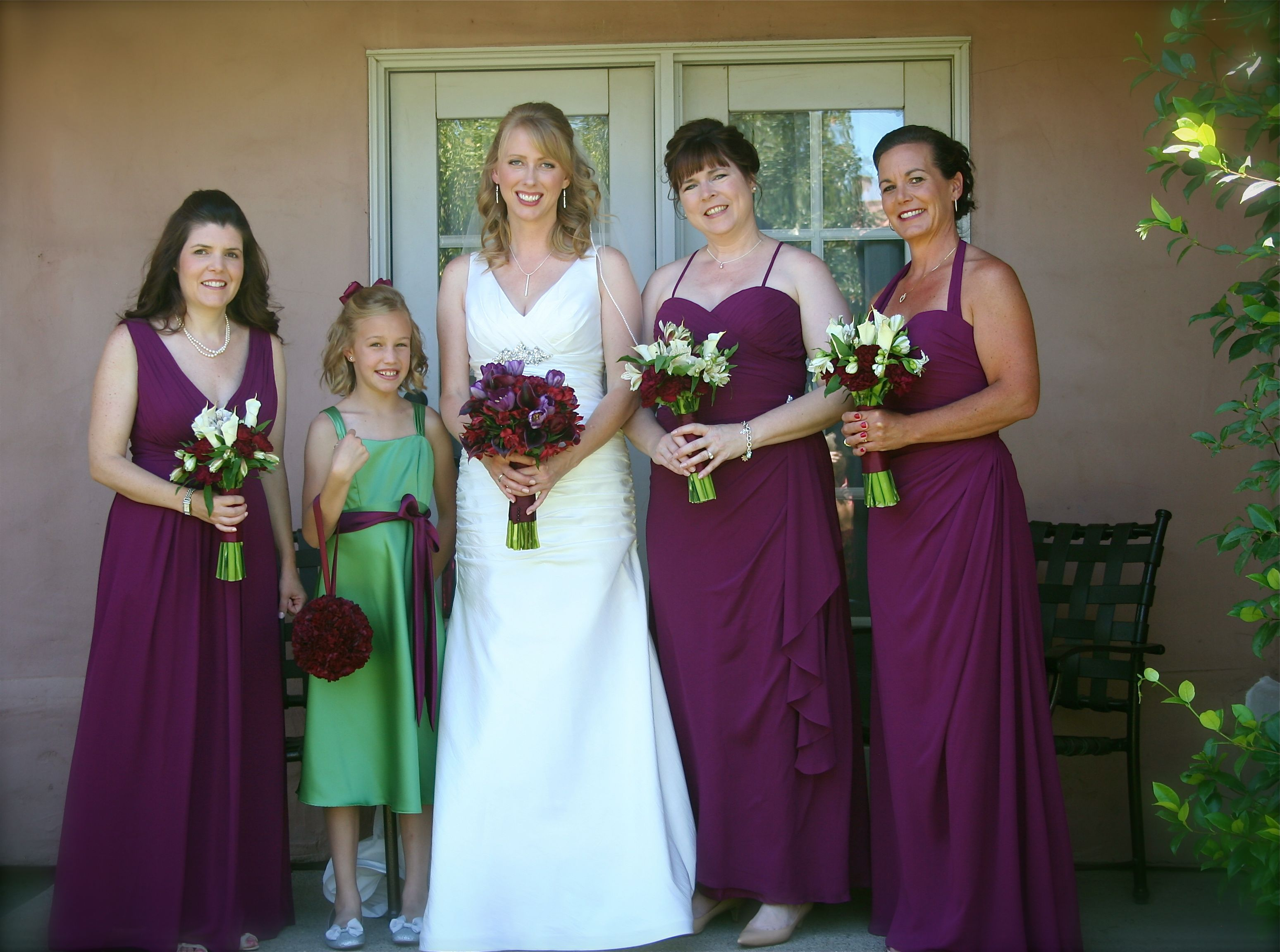22216c0aac1 Different styles of bridesmaid dresses by Bill Levkoff in sangria. I think  the halter dress if nice