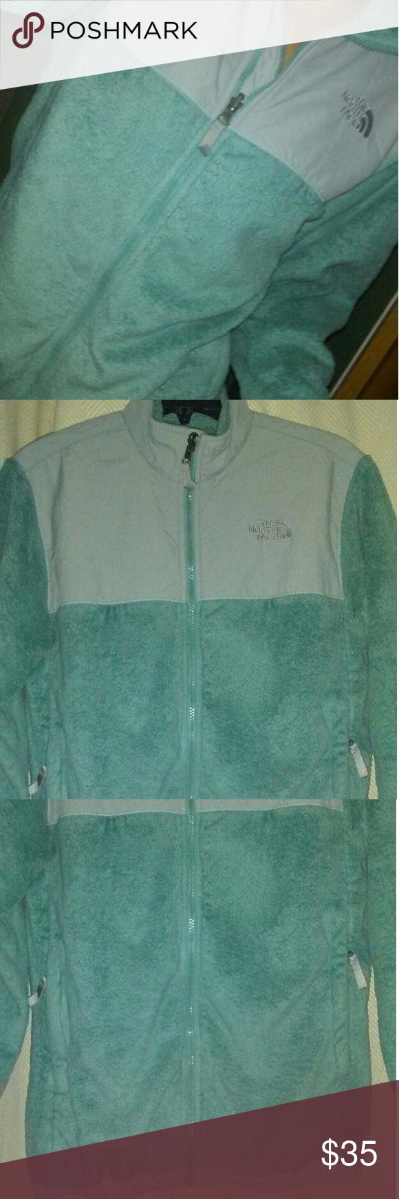 North face fleece jacket fuzzy teal and grey north face fleece