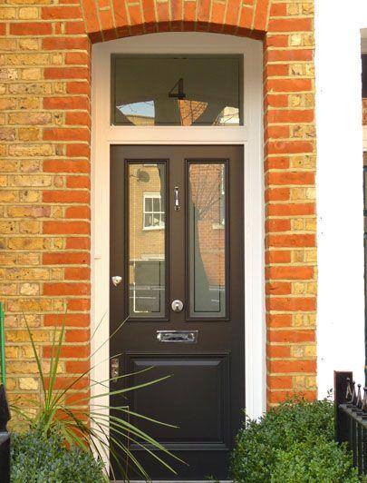 London Doors, Front Door, Victorian / Edwardian Door with nickel door knobs, door knocker and letter plate. For similar door furniture click below: https://www.priorsrec.co.uk/original-nickel-letter-plate-/p-3-33-73-361