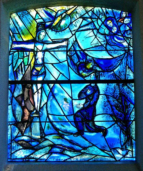 Marc Chagall - 1963/66, stained glass window with ... Marc Chagall Crucifixion