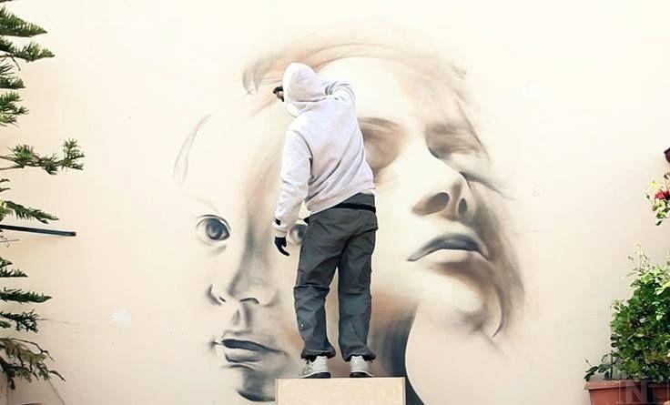 Urban artist iNO at work  #ino #streetart #urbanart #streetartist #freewalls #murals #mrpilgrim #graffiti #art Google+