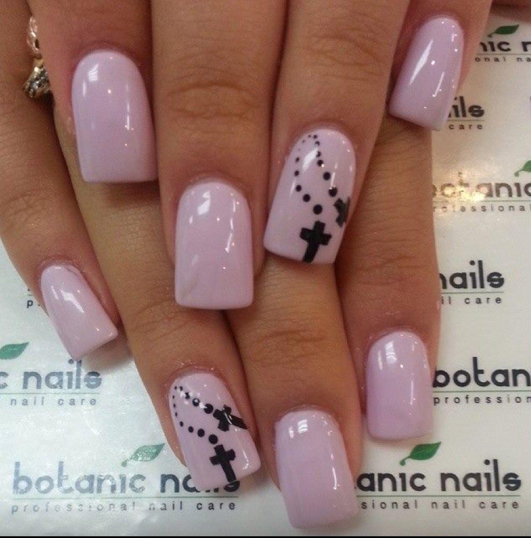 Pink Crosses Nail Designs Pinterest
