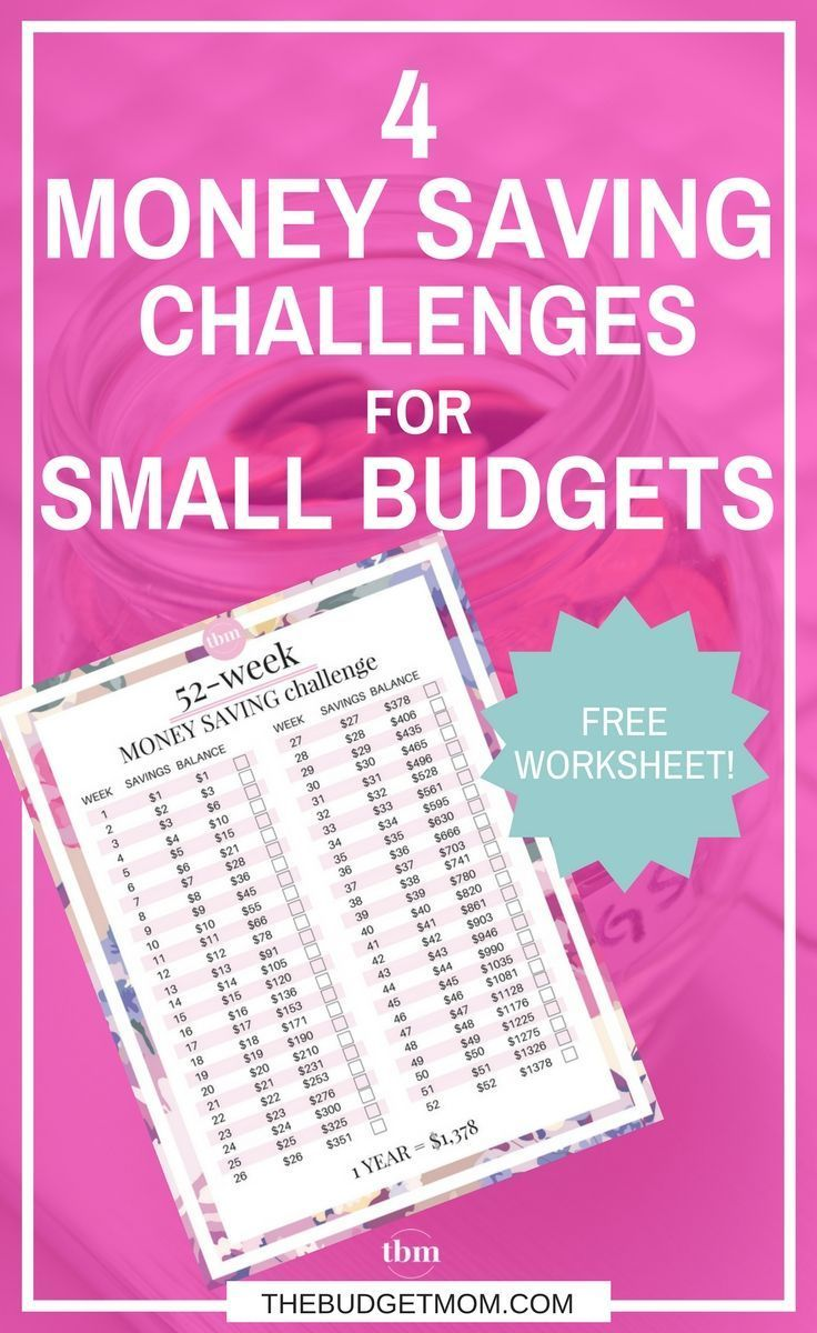 4 money saving challenges for small budgets free worksheet money