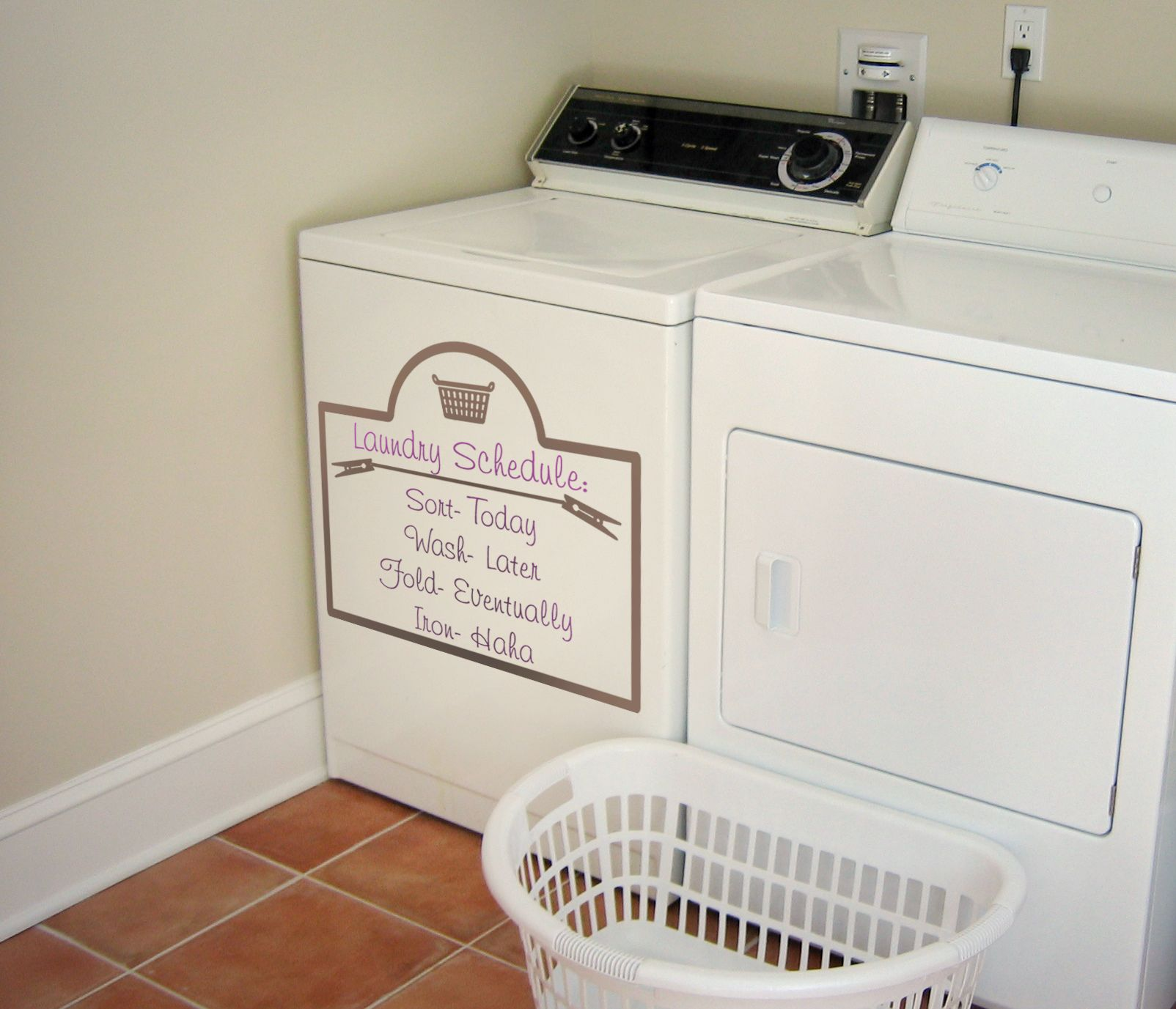 Laundry Schedule Wall Decal Laundry Schedule Laundry And Iron - How do i put on a wall decal
